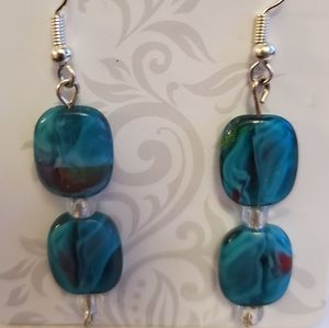 Swirled teal glass bead dangle earrings